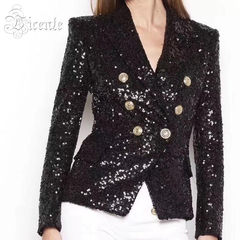 De Vicente V Manches Longues Mode Col Manteau Mince Profond Outwear Sequines Femmes Veste Embelli 2019 Double Noir À Boutonnage n8raxwAp8q