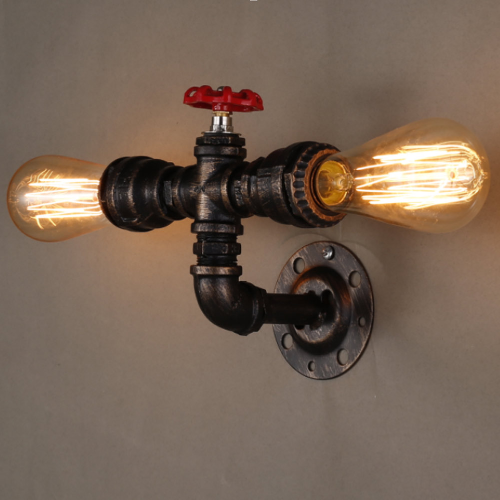Vintage E27 Plated Loft Iron Wall Lamp Retro Industrial Bathroom Stair Antique Lamp Luminaria water pipe