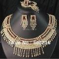 Jóias promoção de Alta Qualidade de Cristal Austríaco Banhado A Ouro Estilo Indiano Colar Brincos de Noiva Conjunto De Jóias de Casamento