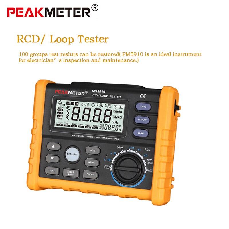 PEAKMETER PM5910 Digital RCD Loop resistance tester meter Multimeter USB Interface Trip-out Current/Time Tester MS5910