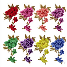 Multi-color flower Lace applique for wedding dress floral rhinestone lace appliques patches embroidery patch accessories