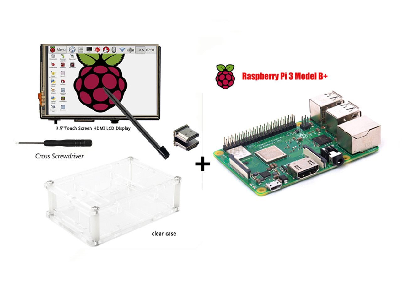 """Raspberry Pi 3 Model B+ Board +3.5"""" HDMI LCD Touch Screen Display with Stylus + Acrylic Case"""