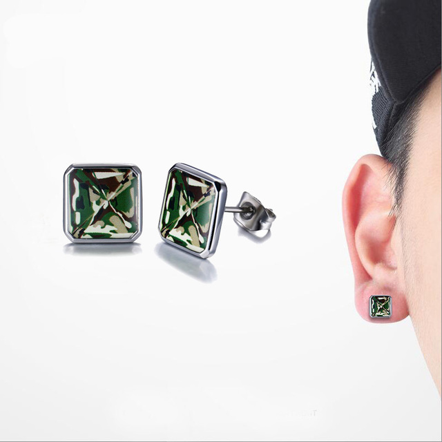 Fashion Mens Earrings Green Camouflage Army Solr Stainless Steel Square Stud Men Hiphop Brincos Jewelry