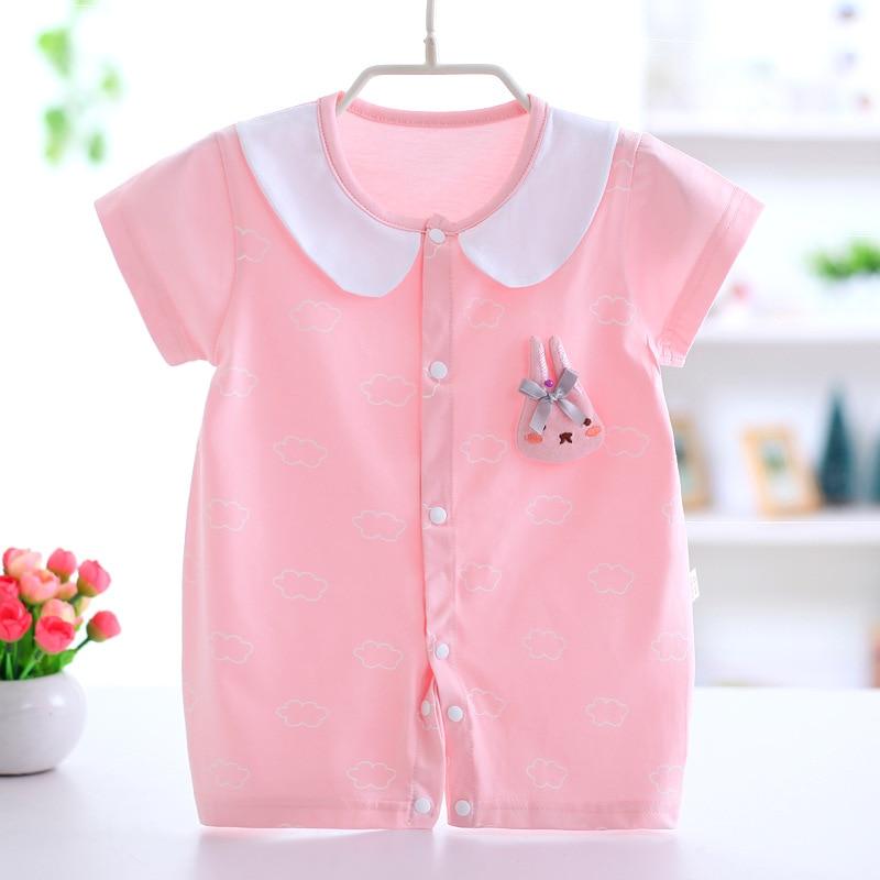 New baby onesies summer cotton thin newborn clothes short-sleeved pajamas o-neck baby girl pajamas