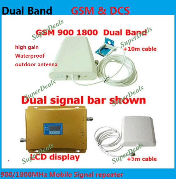 Dual Band DCS GSM Repeater 900 1800 Cellular Mobile Phone Signal Booster , Cell Phone Signal Repeater Amplifiers + 4g Antenna