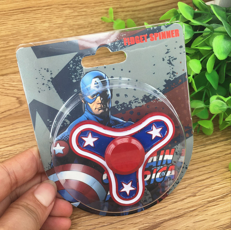 Captain America Deadpool Spiderman Ironman Flash Carton Metal Hand Fidget Spinner For Kids Adult ADHD Decompression