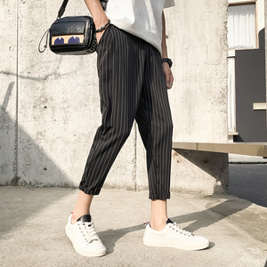 Image 3 - 2019 Mens Cotton Fashion Loose Printing Stripe Black/navy Haren Casual Pants Trousers Harem Hip Hop Pants Large Size M 5XL