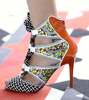 Summer New Women Patent Leather Grid Patchwork Printing Rope Lace Up Cuts out Peep Toe Zip Back Thin Heels Party Sandals Pumps