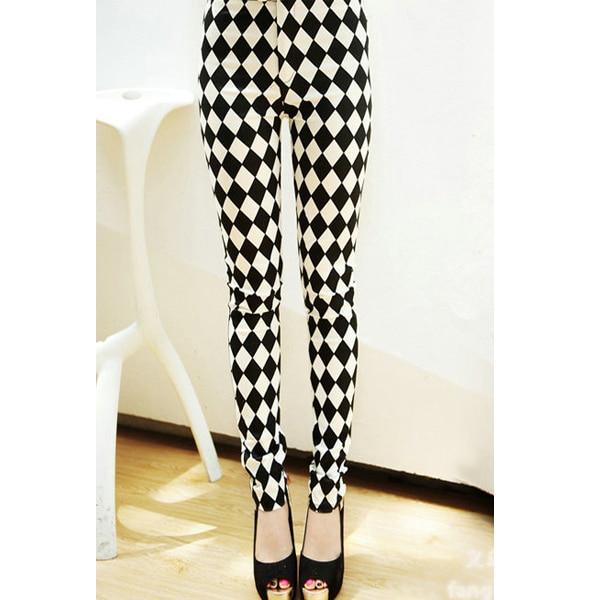 978555636342d 2014 NEW High Waist best black milk material black white Diamond plaid  printed women leggings fashion design pants L-58