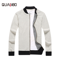 QUANBO Brand Clothing men sweater 2018 new autumn solid zipper men's knitted cardigan male fashion casual zipper o neck sweaters