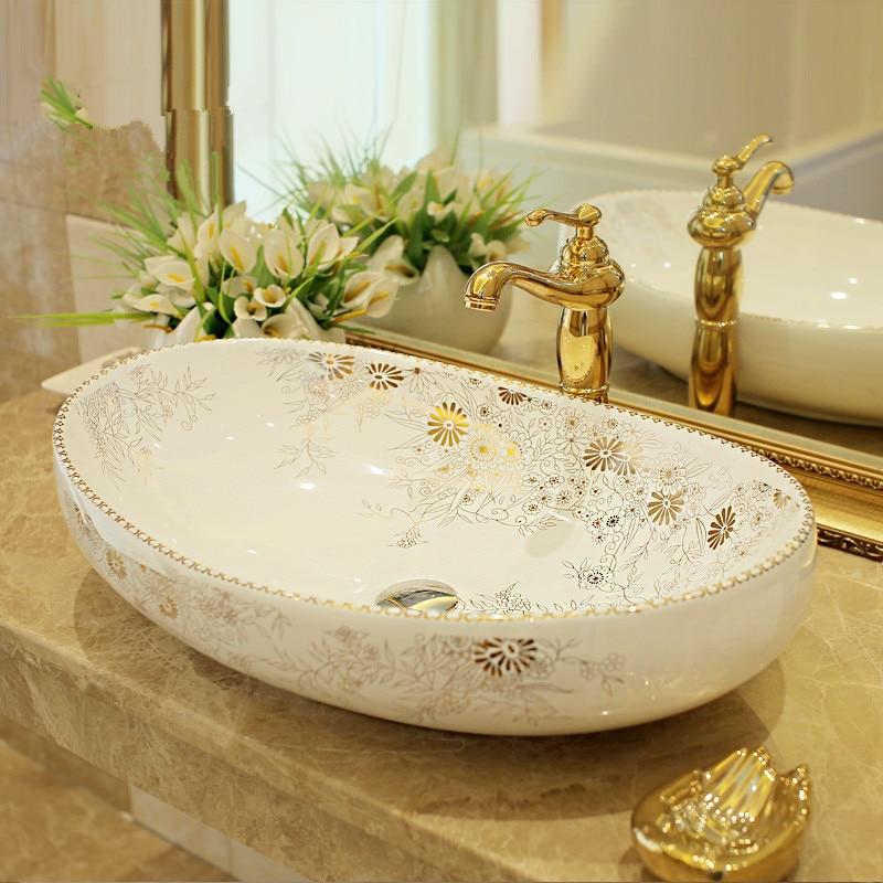 Oval Bathroom Counter Top Wash Basin Cloakroom Hand