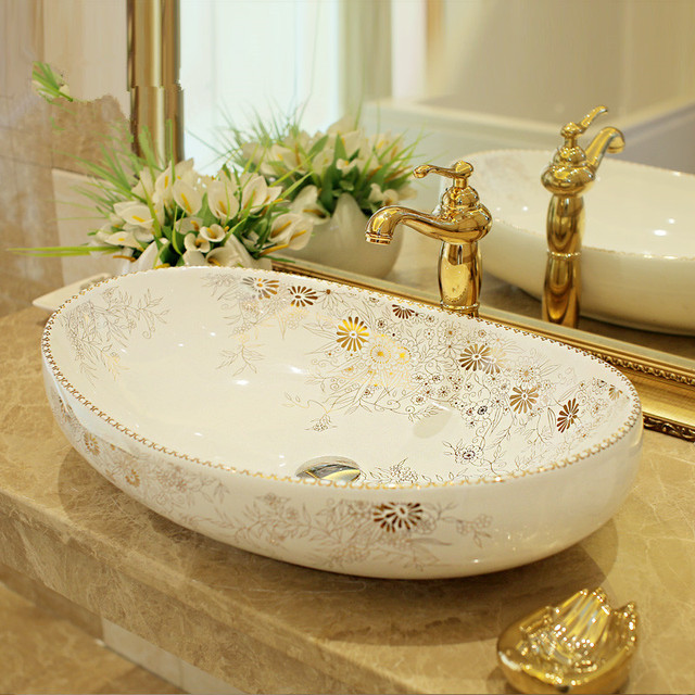 Oval Bathroom Counter Top Wash Basin Cloakroom Hand Painted Vessel Sink  Bathroom Sink Designer Wash Basin