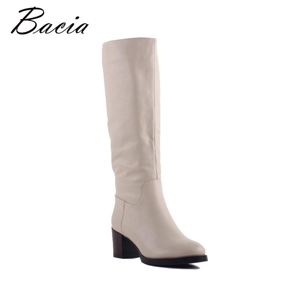 Bacia 100% Real de piel clásica Mujer Botas de piel de vaca de cuero genuino Botas de nieve zapatos de invierno para las mujeres albaricoque claro Botas SA077