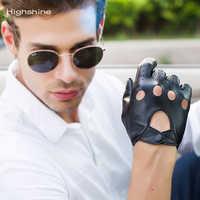 Mens Echtes Leder Handschuhe Männlichen Atmungsaktiv Ziegenleder Thin Frühling Sommer Herbst Fahren Touchscreen handschuhe schwarz und browm