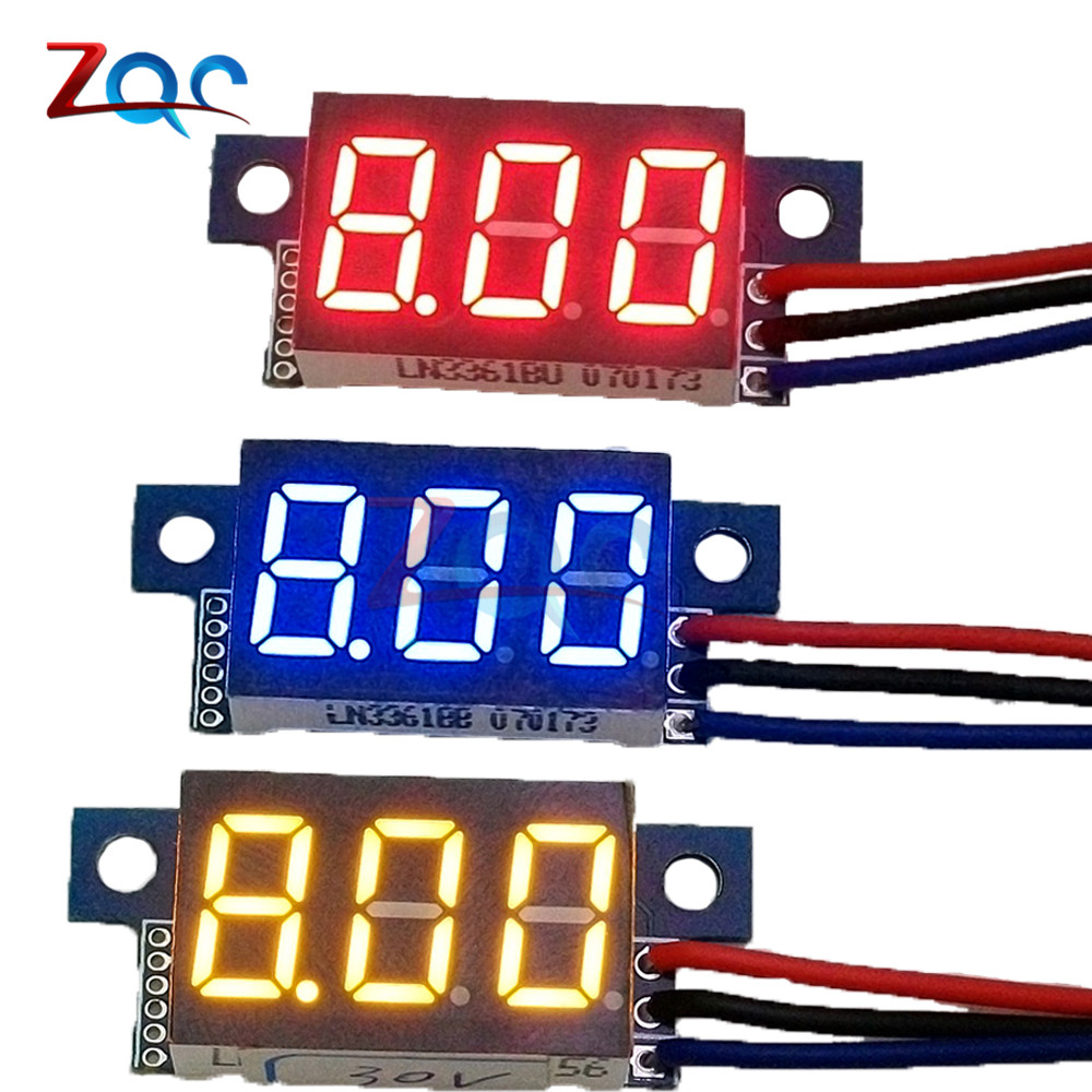 все цены на DC 0-30V 3 Wires 0.36 inch 0.36'' Blue Red Green LED Panel Voltage Meter 3-Digital Display Voltmeter
