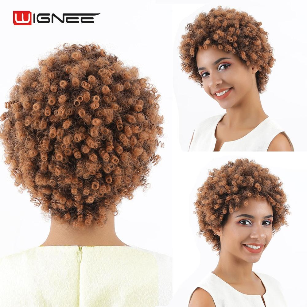 Wignee Mixed Brown Short Hair Wig Afro Curly Synthetic Wig For Women High Density Temperature Heat Resistant Africa American Wig