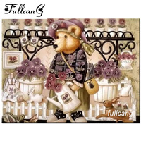 FULLCANG 5d Diamond Painting Cross Stitch Diy Diamond Embroidery Cartoon Bear Doll Mosaic Rhinestones Full Square