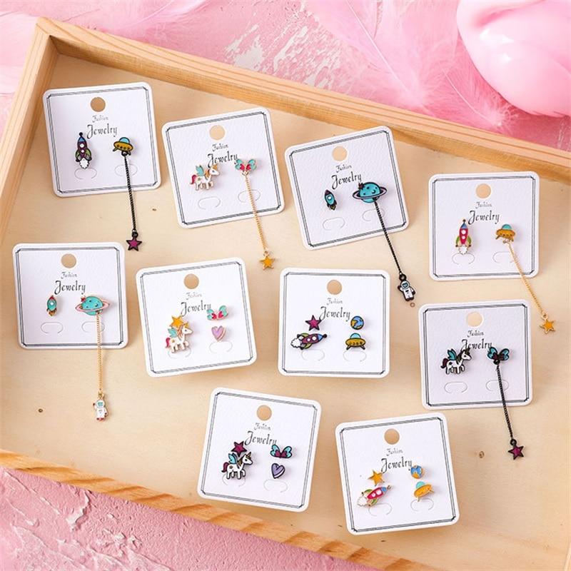 2019 Korean Cute Animal Unicorn Stud Earrings Sweet Star Heart Shape Pentagram Spaceship Long Earrings For Women Fashion Jewelry