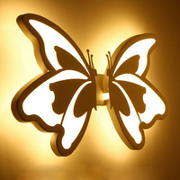 Współczesna DOPROWADZIŁY Ściany Światło z motylem klosz Dla Łazienka Sypialnia lampa 24 W Ścianie Kinkiet Biały Oświetlenie Wewnętrzne arylic
