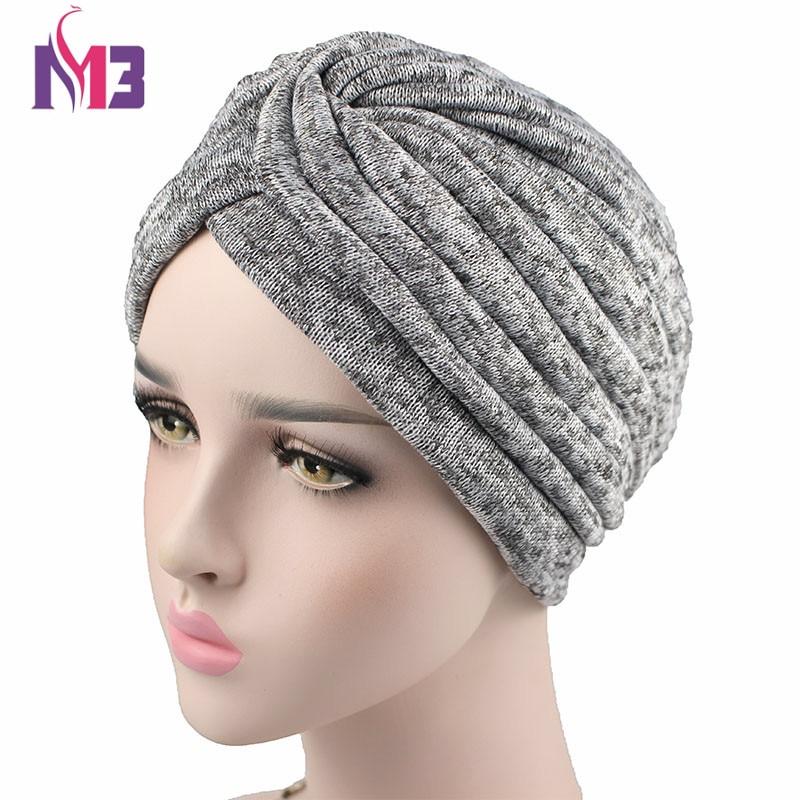 2017 Winter New Fashion Women Knit Turban Twist Headband Thick Wool inside Warmer Chemo   Headwear   Ladies Hijab Turbante