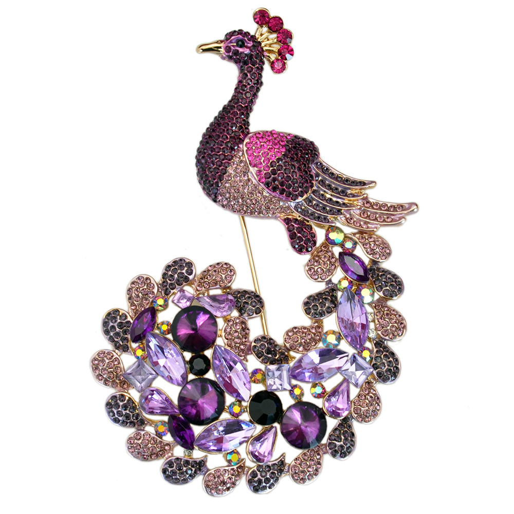 Stylish And Elegant Charming Purple Crystal Rhinestone Peacock Brooch Jewelry Huge Animal Costume Jewelry цена