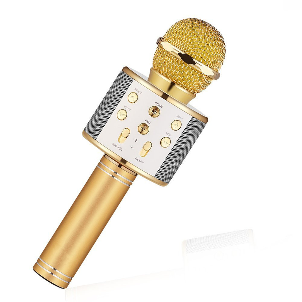 WS858 mikrofon De Poche Bluetooth Sans Fil Karaoké Microphone Téléphone Lecteur MICRO Haut-Parleur Enregistrer de La Musique KTV Microfone pour iPhone PC