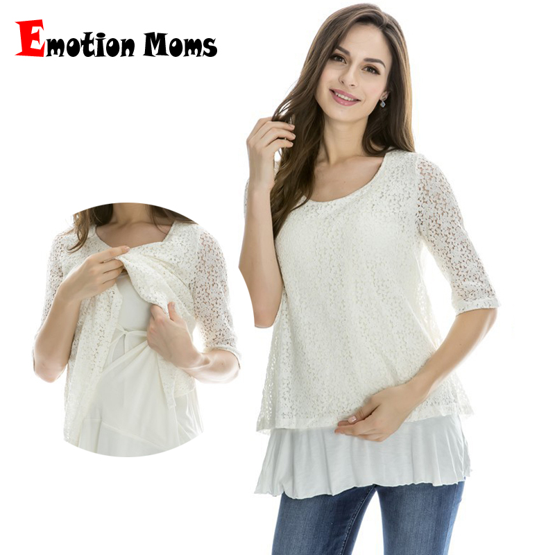 Emotion Moms Lace Maternity clothes Nursing breastfeeding Tops for Pregnant Women T-shirt spring Maternity Tops feeding clothing mara alee women lace blouses off the shoulder tops black shirt blusas plus size women clothing mesh tops summer we943