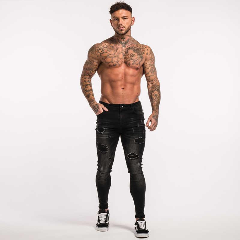 4d48fb3b845 ... Gingtto Skinny Jeans Men Ripped Black Side Stripe Jeans Stretch Slim  Fit Elastic Biker Jeans Male ...