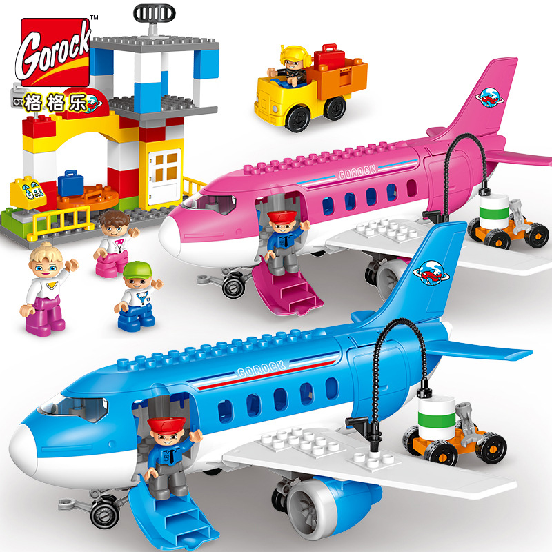 Airport Theme Toys Children 82pcs Big Particles Sea And Air Assembly Toy Car Airplane Series Model Building Blocks Toy Boy Gift 0367 sluban 678pcs city series international airport model building blocks enlighten figure toys for children compatible legoe