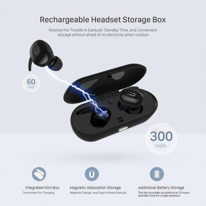 New True Mini Twins Wireless Bluetooth 4.1 Sports Earbuds Cordless Invisible In-Ear Earphones with Charging Case Built in @JH