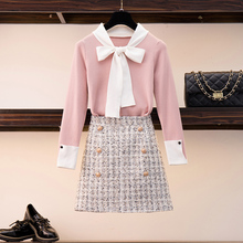 HAMALIEL Sweet Spring Women Sweater Skirt Suits Pink Bowknot Hit Color Knitted Thin Tops And Short Tweed Plaid Skirt Sets