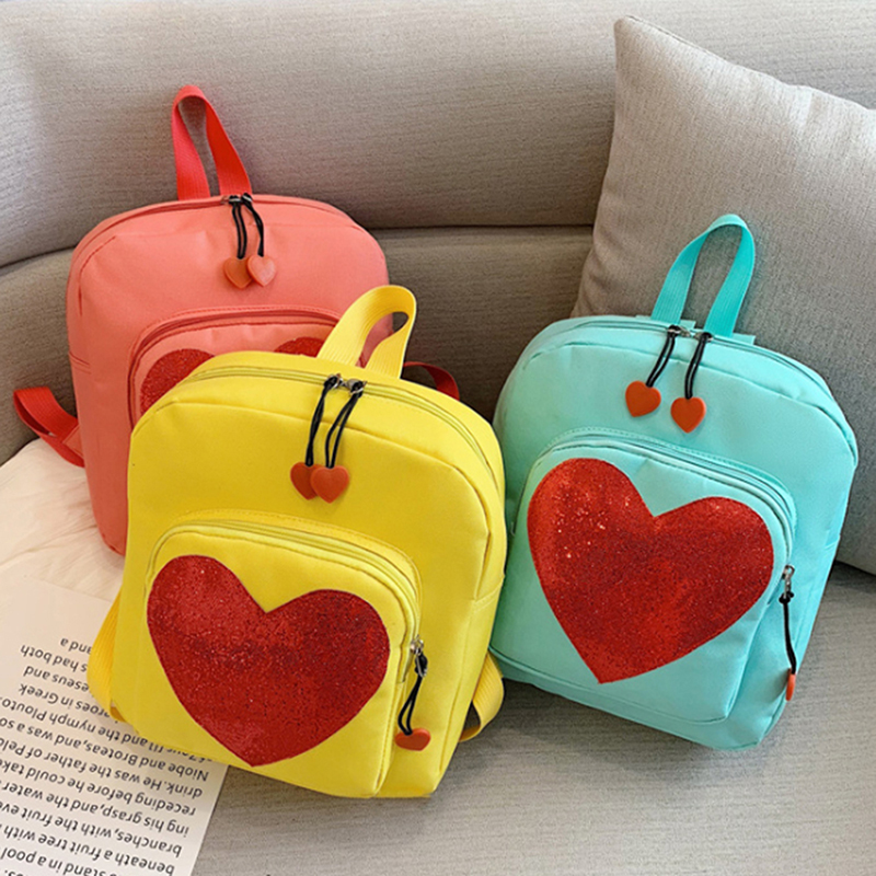 Candy Color PU Leather Ita Bag DIY Transparent Love Heart Shape Backpack Kawaii Schoolbags For Teenage Girls