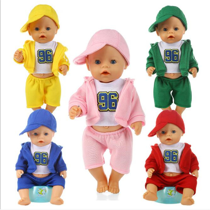 Born New Baby Fit 18 Inch 43cm Doll Clothes Three Sportswear With Pink, Blue And Red Hat Doll Accessories For Baby Birthday Gift