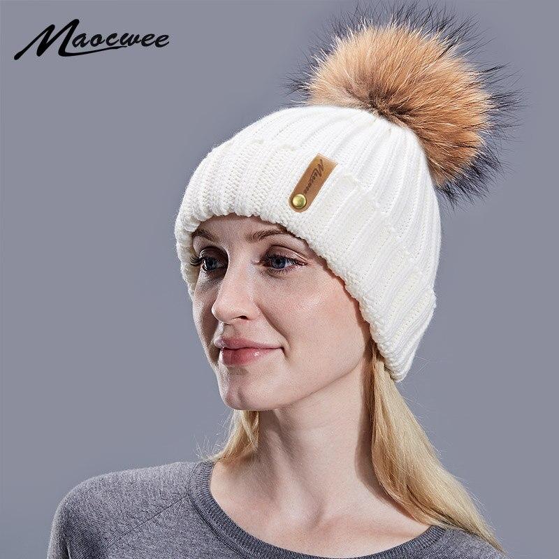 a20e9710732120 Winter Autumn Girls Women Fur Pom Pom Beanies Hats Cotton Beanies Cap For  Baby Lovely Knitted