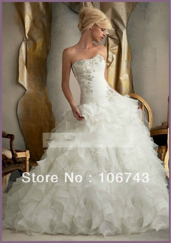 dresses free shipping 2013 Brand New strapless Corset lace-up white/ivory wedding dress bridal custom