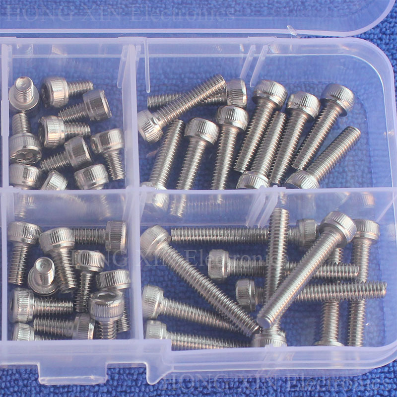 M4 Hexagon Socket Screws Stainless Steel For Machine Applications Hex Head Cap Screw 60pcs M4 6 8 12 16 20 25 in Nut Bolt Sets from Home Improvement