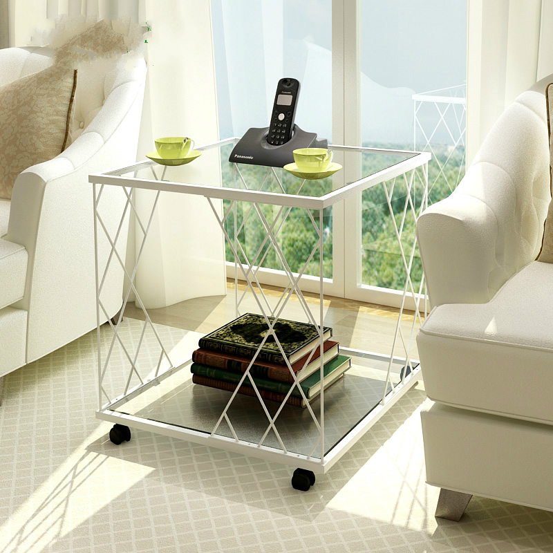 Glass and Metal Modern Sofa Small Coffee Table Angle Simple Fashion Small Toughened Glass Sofa Corner Table living room high foot small bar table toughened glass bars table fashion household coffee bar table