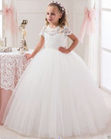 Girls Princess Dress Girl Wedding Dress Puffy Ball Gown White Lace Dress Girl Party Clothing Kids First Communion costumes