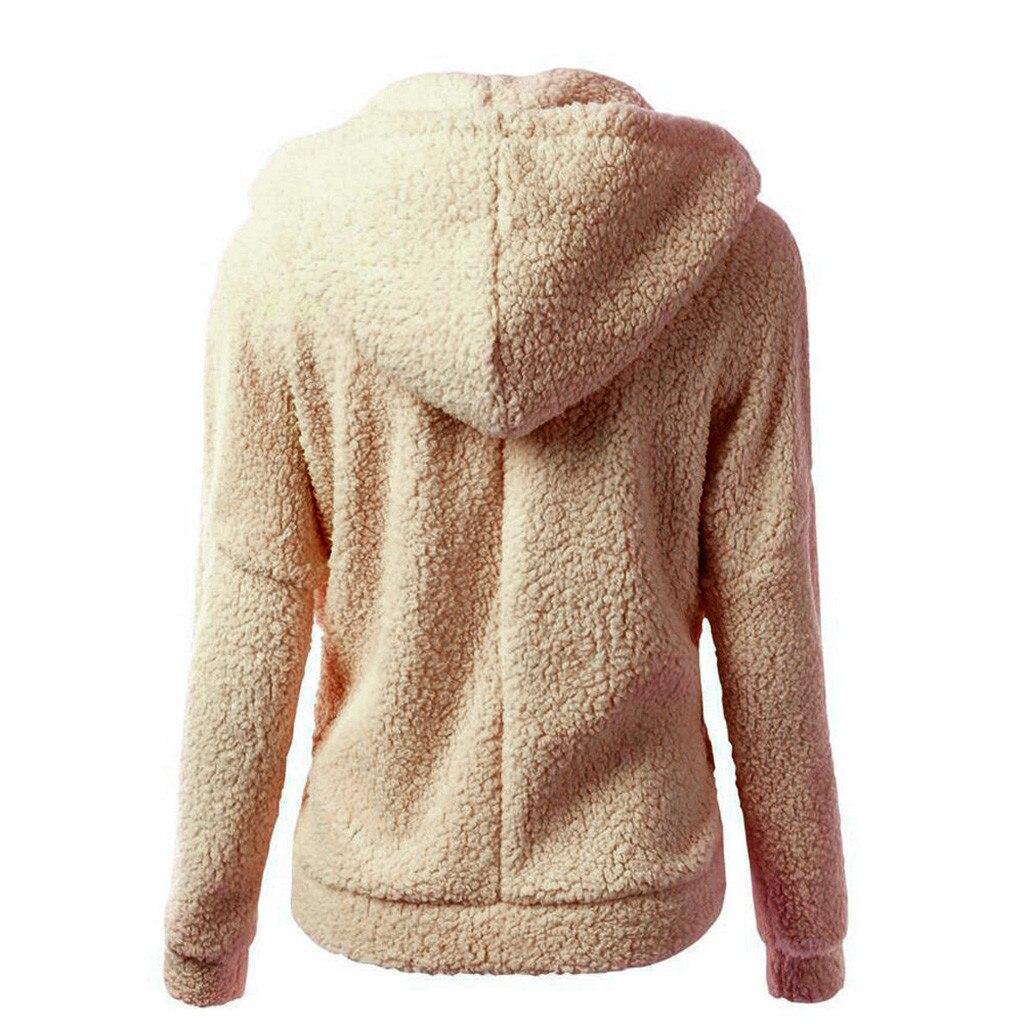 HTB1svXDX2fsK1RjSszgq6yXzpXaO Women Solid Color Coat Thicken Soft Fleece Winter Autumn Warm Jacket Hooded Zipper Overcoat Female Fashion Casual Outwear Coat