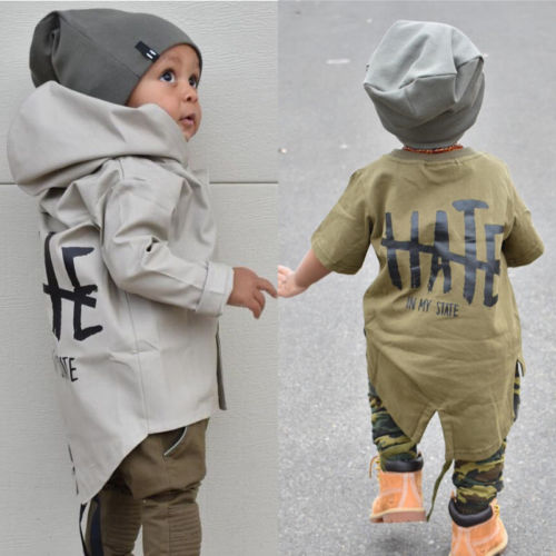 Hooded Coat Outerwear Jacket Letter Long-Sleeve Autumn Warm Newborn Infant Boys Winter