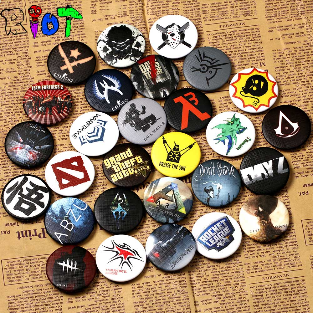 HOT sale Game Dva Genji Mei Dota2 Csgo Assassins csgo Dark Soul Goku famine badge various styles colorful ornament