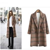 European style female wool blends coat plaid pattern turn down collar Winter warm elegant woman coat long and plus size