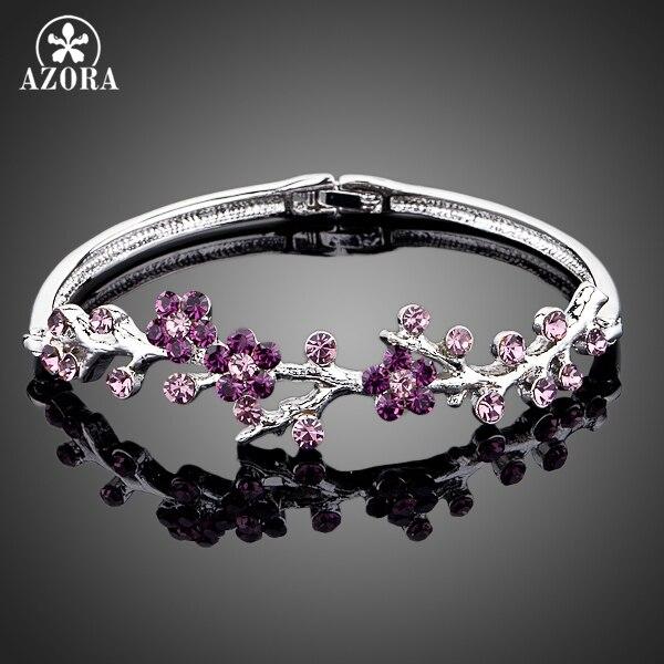 AZORA The Purple Plum Blossom White Gold Color Stellux Austrian Crystal Bangle Bracelet TB0009 стоимость