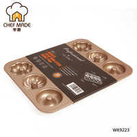 Chef Made Cake Mold Gold 12 Cups Non stick Pumpkin Tornado Donut Chips Cook Diy Baking Pan Cake Form Metal Moule A Gateau Rond