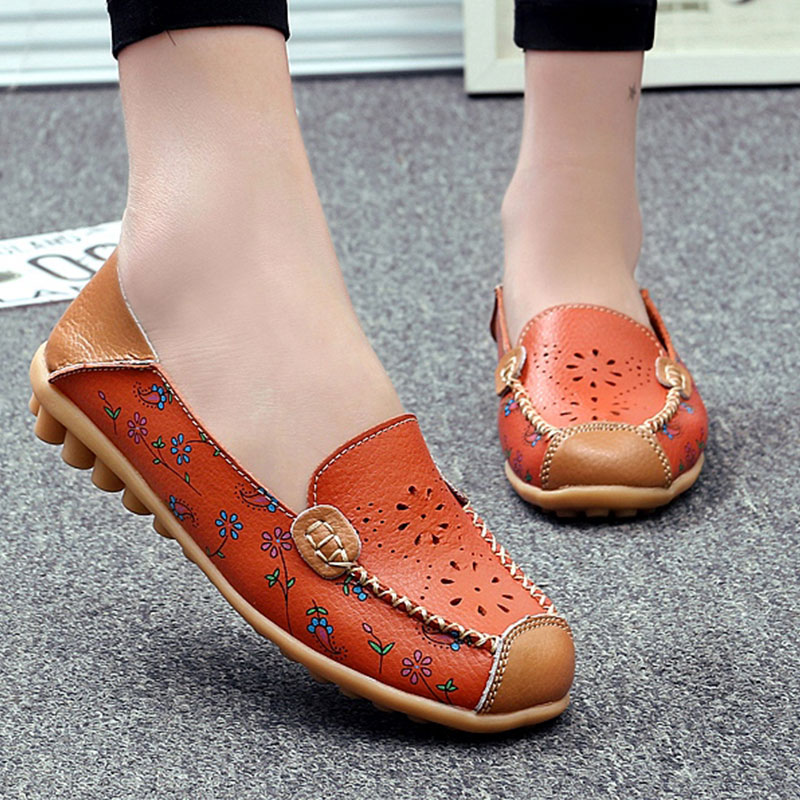 Women Genuine Leather Ballet Flats Summer Loafers Moccasin Slip On Hollow Flower Casual Ladies Shoes Size 35-44 summer slip ons 45 46 9 women shoes for dancing pointed toe flats ballet ladies loafers soft sole low top gold silver black pink