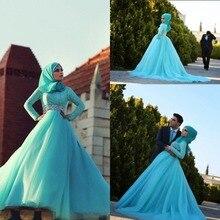 Free Shipping long sleeves Abaya vestido de noiva Muslim Wedding Dresses wedding bridal gown Islamic Clothing With Hijab HS307