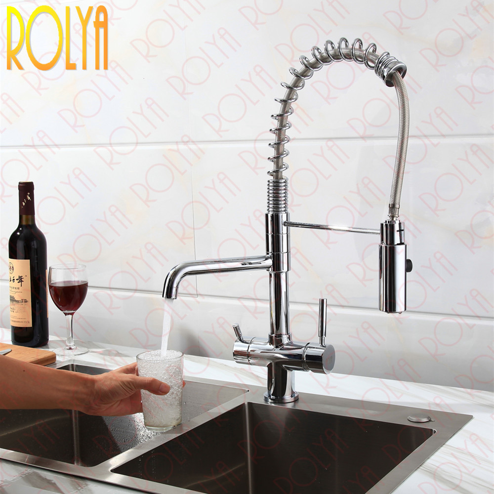 Rolya New Tri Flow Kitchen Faucet Swivel with Sprayer Hose Gooseneck Pull Down Sink Mixer Brass Chrome 3 Way Water Filter Tap