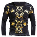 New Gilding fashion Europe Korea United States fall/winter Men style hot Long sleeve t-shirt printed cotton three colors M~XXXL