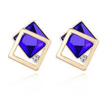 ECODAY Korean Earrings Square Crystal Fashion Stud for Women Brincos 2019 Oorbellen Accessories