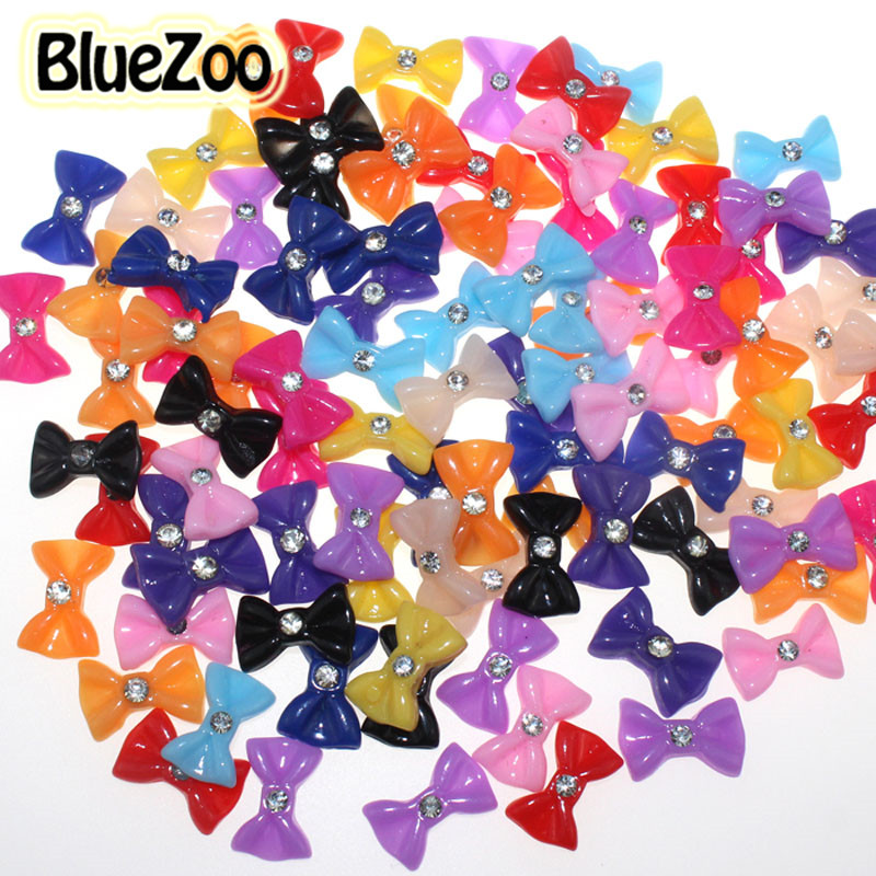 BlueZoo 100pcs/pack 12 Mixed Colors Nail Resin Bow Tie 3D Stickers For Nail Art Decoration Manicure Decoration Nail Rhinestone girl dresses summer brand baby kid clothes princess anna elsa dress snow queen cosplay costume party children clothing new years